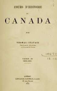 Page frontispice de Cours d'histoire du Canada, vol. 4, par Thomas Chapais, édition de 1919 chez J.-P. Garneau à Québec