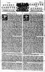 Page frontispice du journal The Quebec Gazette/La Gazette de Québec du 12 juillet 1764