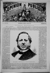 Page frontispice du journal L'Opinion publique du 19 mai 1870