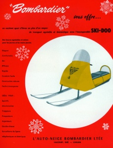 Sales brochure for an early-model snowmobile.