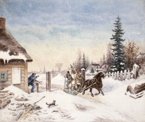Habitants crashing the tollgate in a country wood-sleigh, 1867.
