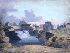 View of Philemon Wright's mill and tavern at the Chaudière Falls, in Hull, on the Ottawa River, in Lower Canada, 1823