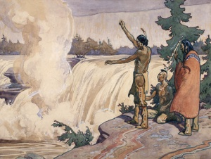 Offering of tobacco near the main Chaudière Falls as imagined by C.W. Jeffreys, circa 1930