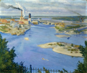 Chaudière Falls and Bridge [on the Ottawa river], Henri Fabien,1914