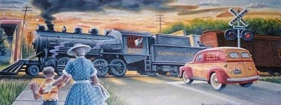 Mural of Locomotive 3426, Vanier, Ottawa, painted in 2003