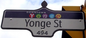 Street sign at Yonge Street, in downtown Toronto