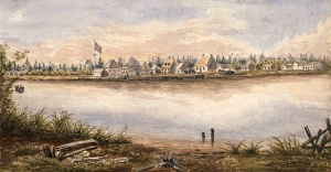Old Fort William and the Hudson's Bay trading post at the mouth of the Kaministikwia River, circa 1853.