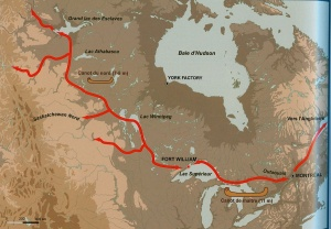 Map showing the trade routes linking Montreal-Fort William-Lake Athabasca.