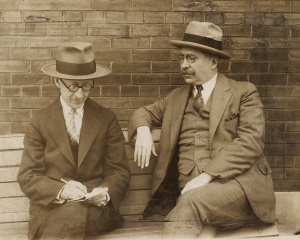 Jean Charbonneau, writer, translator and founding member of the École littéraire de Montréal, giving a interview to his friend Paul de Martigny, c. 1930