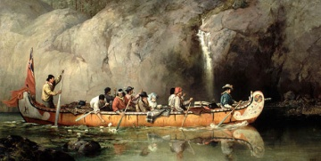 Canoe Manned by Voyageurs Passing a Waterfall by Frances A. Hopkins, 1869
