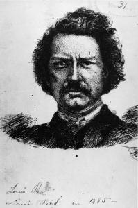 Dessin de Louis Riel par l'arpenteur P.H. Dumais en 1885