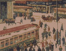 Christmas Shopping Frenzy in Montreal, Immortalized by Adrien Hébert around 1940. © Musée national des beaux-arts de Québec.