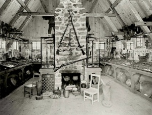 Interior of the Chauvin trading post, as rebuilt in 1943